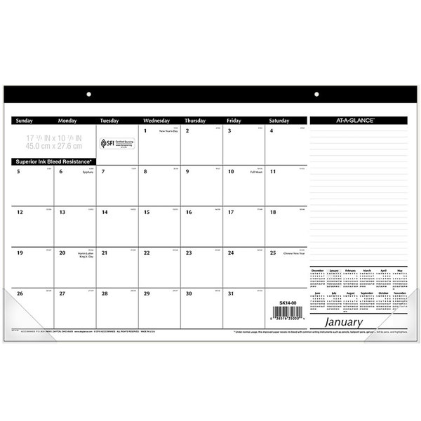"""At-A-Glance SK1400 17 3/4"""" x 10 7/8"""" White January 2020 - December 2020 Compact Monthly Desk Pad Calendar"""