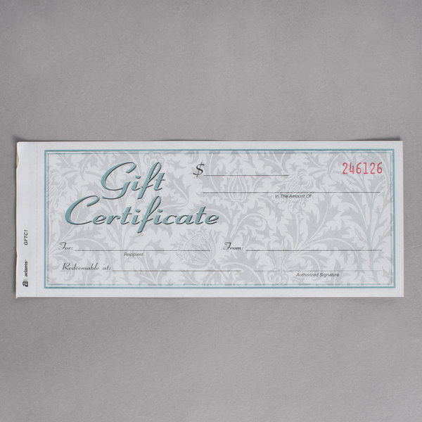 adams gftc1 2 part carbonless gift certificate with envelope 25 pack