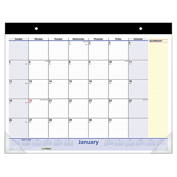 """At-A-Glance SK70000 22"""" x 17"""" Monthly January 2020 - January 2021 QuickNotes Desk Pad Calendar"""