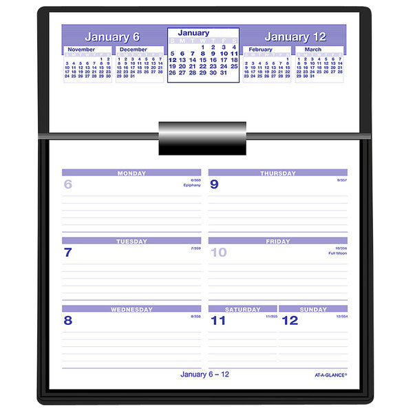 """At-A-Glance SW70650 Flip-A-Week 5 5/8"""" x 7"""" White 2021 Desk Calendar Refill with QuickNotes Main Image 1"""