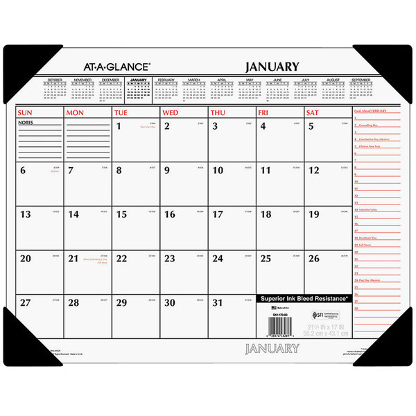 "At-A-Glance SK117000 22"" x 17"" White / Orange January 2020 - December 2020 Monthly Desk Pad Calendar"