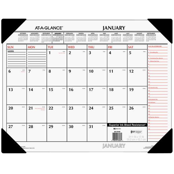 "At-A-Glance SK117000 22"" x 17"" White / Orange January 2021 - December 2021 Monthly Desk Pad Calendar Main Image 1"