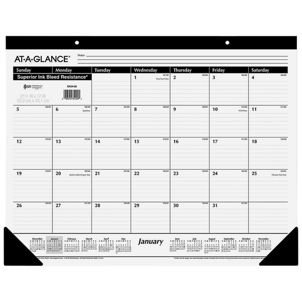 "At-A-Glance SK2400 22"" x 17"" Monthly January 2020 - December 2020 Desk Pad Calendar"