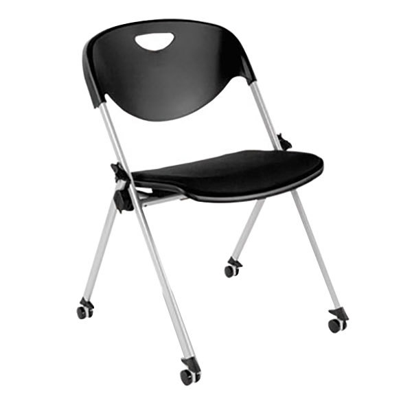 Alera ALESL651 SL Series Black Stackable Chair with Casters - 2/Case Main Image 1
