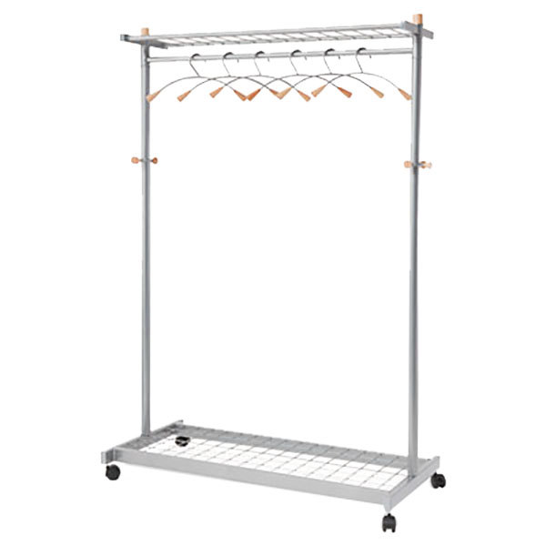 "Alba PMLUX6 44 13/16"" x 21 11/16"" x 70 13/16"" Silver Steel Double Sided Garment / Coat Rack with 6 Hangers and Casters"