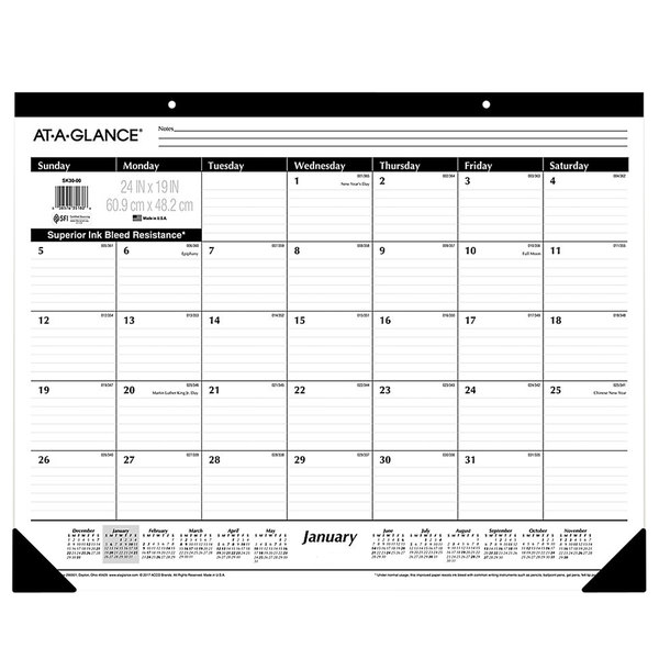 """At-A-Glance SK3000 24"""" x 19"""" Monthly January 2020 - December 2020 Desk Pad Calendar"""