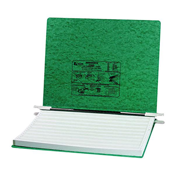 "Acco 54076 11"" x 14 7/8"" Side Bound Hanging Data Post Binder - 6"" Capacity with 2 Fasteners, Dark Green"