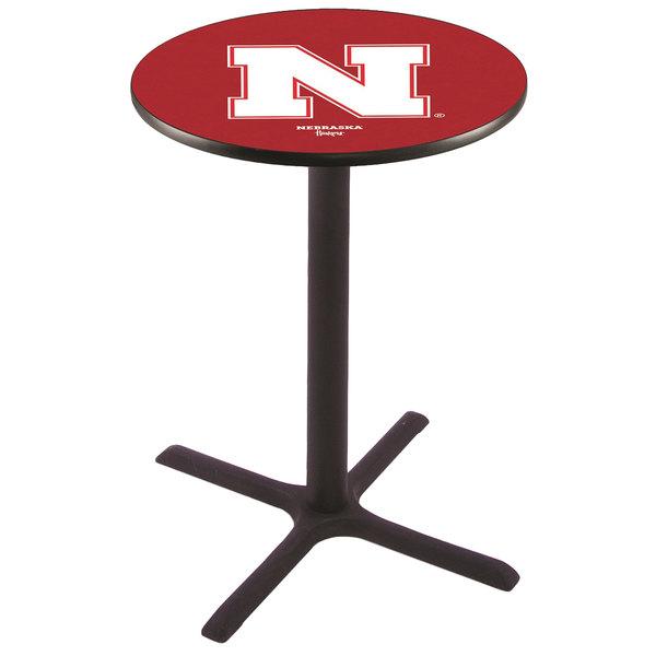 "Holland Bar Stool L211B36NEBRUN 28"" Round University of Nebraska Pub Table"
