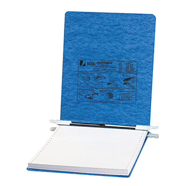 """Acco 54112 9 1/2"""" x 11"""" Top Bound Hanging Data Post Binder - 6"""" Capacity with 2 Fasteners, Light Blue Main Image 1"""
