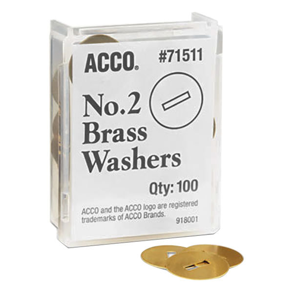 "Acco 71511 1/2"" Two-Piece Paper Fastener Gold Washer - 100/Box"