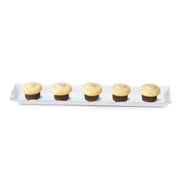 "GET ML-112-W Bake and Brew 19"" x 5 1/4"" White Melamine Rectangular Display Tray - 12/Pack"