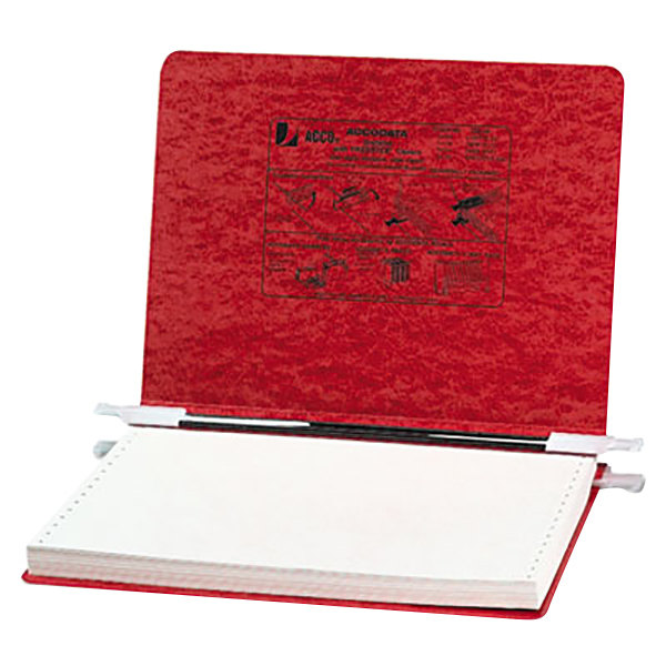 "Acco 54139 8 1/2"" x 12"" Side Bound Hanging Data Post Binder - 6"" Capacity with 2 Fasteners, Executive Red"