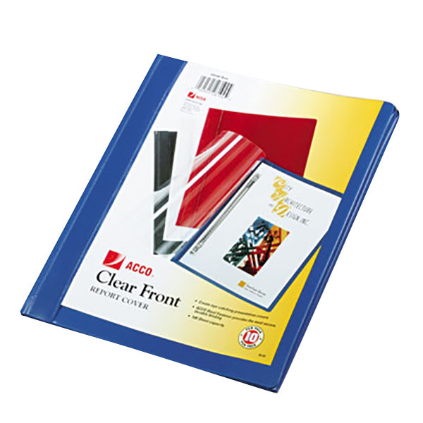 """Acco 26102 8 1/2"""" x 11"""" Clear Polypropylene Side Bound Report Cover with Prong Fastener and Blue Vinyl Back - 10/Pack"""