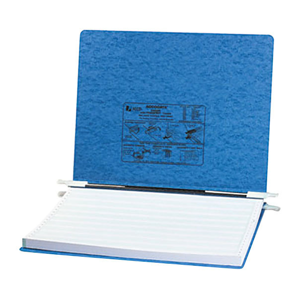 """Acco 54072 11"""" x 14 7/8"""" Side Bound Hanging Data Post Binder - 6"""" Capacity with 2 Fasteners, Light Blue Main Image 1"""