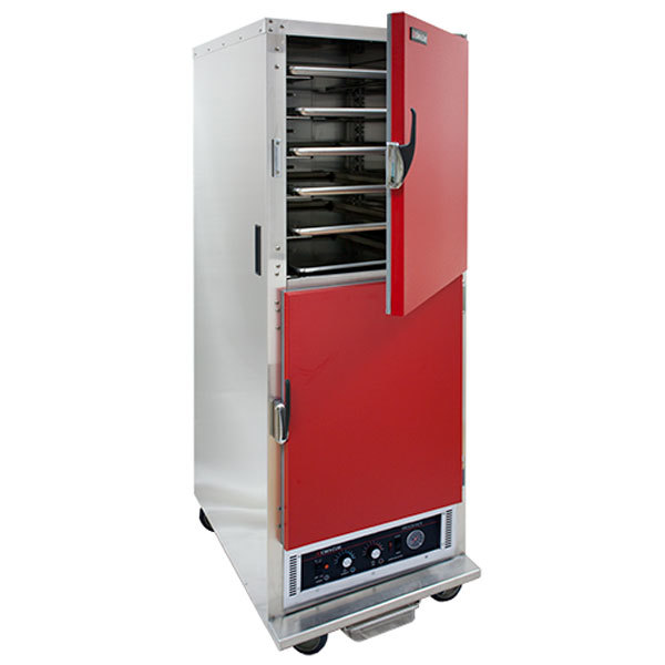 Cres Cor H-135-WSUA-11-R Red AquaTemp Insulated Full Height Stainless Steel Holding Cabinet with Adjustable Humidity and Solid Dutch Doors - 120V, 2000W
