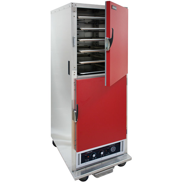 Cres Cor H-135-WSUA-11-R Red AquaTemp Insulated Full Height Stainless Steel Holding Cabinet with Adjustable Humidity and Solid Dutch Doors - 120V, 2000W Main Image 1