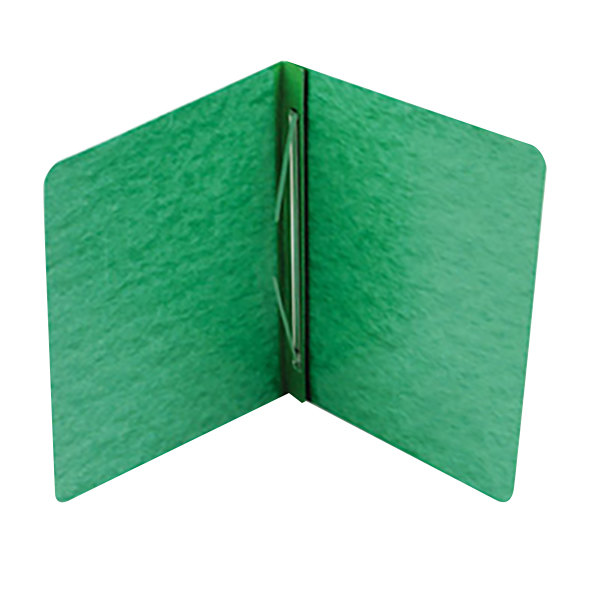 """Acco 25976 8 1/2"""" x 11"""" Dark Green Pressboard Side Bound Report Cover with Prong Fastener - 3"""" Capacity"""