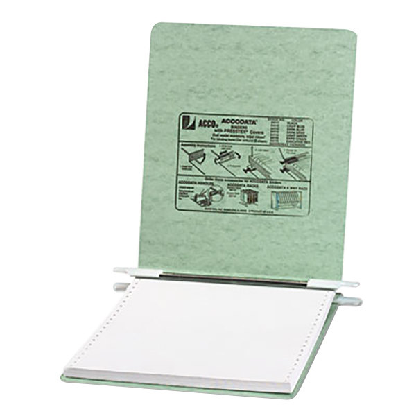 """Acco 54115 9 1/2"""" x 11"""" Top Bound Hanging Data Post Binder - 6"""" Capacity with 2 Fasteners, Light Green Main Image 1"""