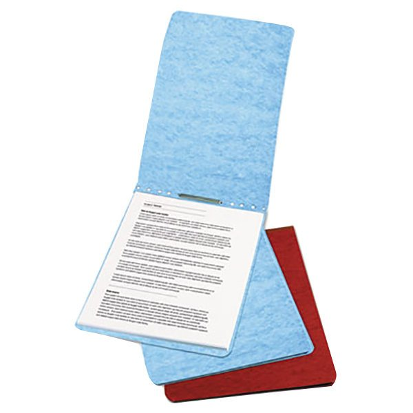 """Acco 17022 8 1/2"""" x 11"""" Light Blue Presstex Top Bound Report Cover with Prong Fastener - 2"""" Capacity"""