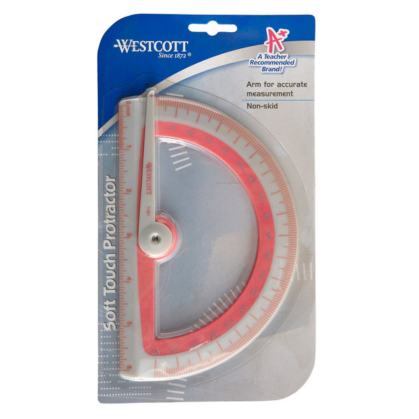 Westcott 14376 Assorted Soft Touch Plastic Protractor