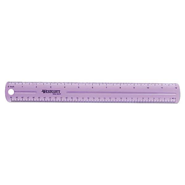 "Westcott 12975 12"" Jewel Colored Plastic Ruler - 1/16"" Standard Scale"