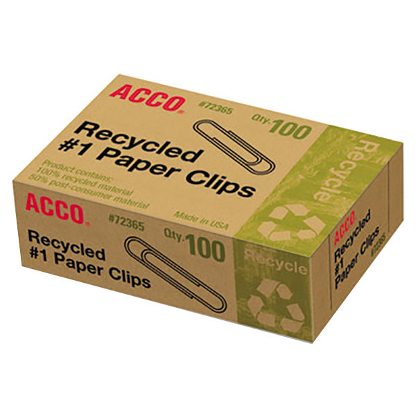 Acco 72365 Silver Smooth Finish #1 Recycled Paper Clip - 1000/Pack
