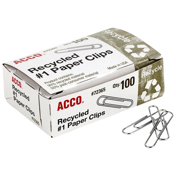 Acco 72365 Silver Smooth Finish 100 Count #1 Recycled Paper Clips - 10/Box