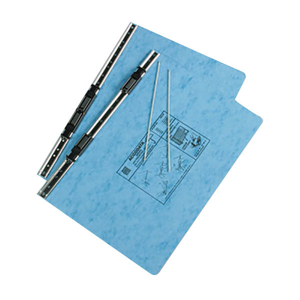 """Acco 54042 8 1/2"""" x 14 7/8"""" Side Bound Hanging Data Post Binder - 6"""" Capacity with 2 Fasteners, Light Blue Main Image 1"""
