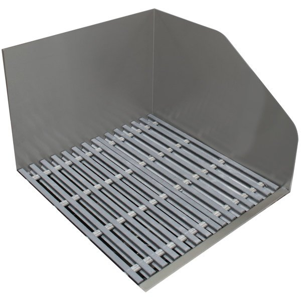 """Advance Tabco 9-OP-24FM-FGR 21 3/8"""" x 24"""" x 16 1/2"""" Stainless Steel Floor Mounted Mop Sink with Fiberglass Grate and Right Splash Guard"""