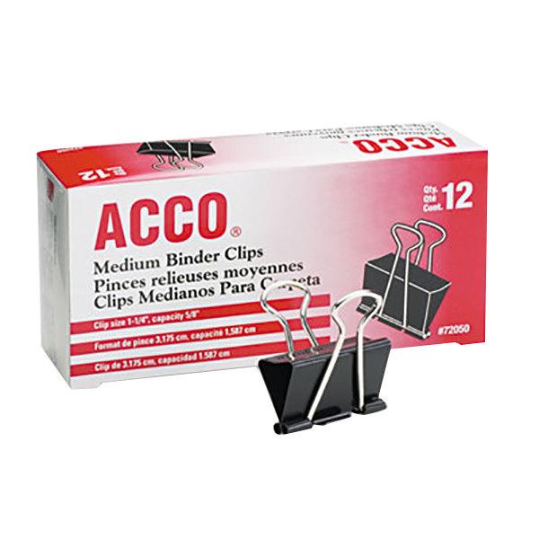 Acco 72050 5/8 inch Capacity Black Medium Binder Clip - 12/Pack