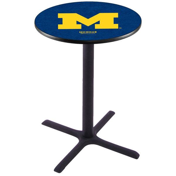 "Holland Bar Stool L211B3628MICHUN 28"" Round University of Michigan Pub Table Main Image 1"