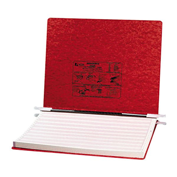 "Acco 54079 11"" x 14 7/8"" Side Bound Hanging Data Post Binder - 6"" Capacity with 2 Fasteners, Executive Red"