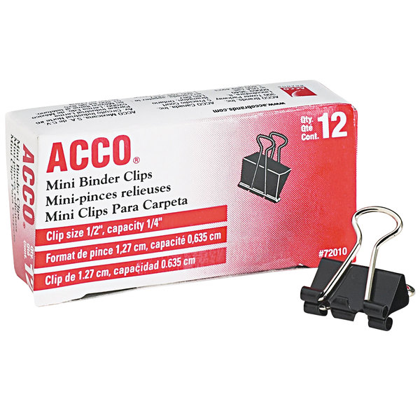 Acco 72010 1/4 inch Capacity Black Mini Binder Clip - 12/Pack