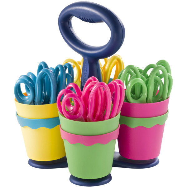 """Westcott 14756 School Scissors Caddy with 24 Pairs of 5"""" Blunt Tip Kids Scissors with Antimicrobial Protection Main Image 1"""