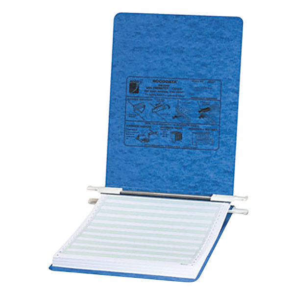 "Acco 54052 8 1/2"" x 11 3/4"" Top Bound Hanging Data Post Binder - 6"" Capacity with 2 Fasteners, Light Blue Main Image 1"