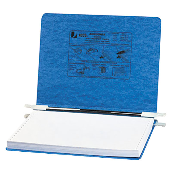 """Acco 54132 8 1/2"""" x 12"""" Side Bound Hanging Data Post Binder - 6"""" Capacity with 2 Fasteners, Light Blue Main Image 1"""