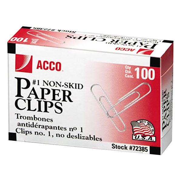 Acco 72385 Silver Non-Skid Finish 100 Count #1 Standard Paper Clips - 10/Box Main Image 1