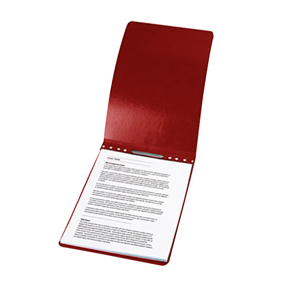 "Acco 19028 8 1/2"" x 14"" Red Presstex Top Bound Legal Report Cover with Prong Fastener - 2"" Capacity Main Image 1"