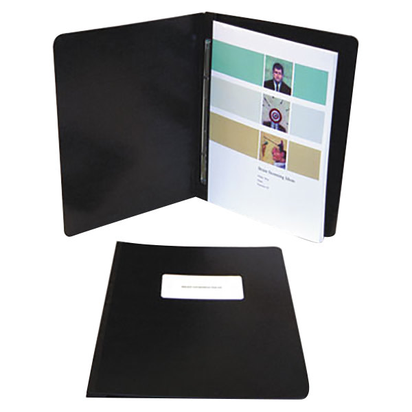 "Acco 30071 8 1/2"" x 14"" Black Presstex Side Bound Legal Report Cover with Prong Fastener - 3"" Capacity Main Image 1"