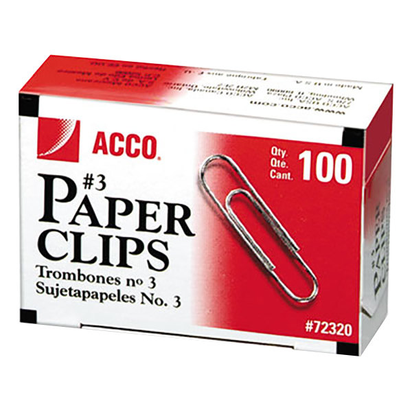 Acco 72320 Silver Smooth Finish 100 Count #3 Standard Paper Clips - 10/Box