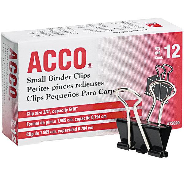"Acco 72020 5/16"" Capacity Black Small Binder Clip - 12/Box"