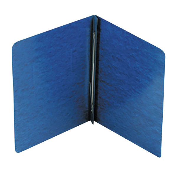 """Acco 25973 8 1/2"""" x 11"""" Dark Blue Pressboard Side Bound Report Cover with Prong Fastener - 3"""" Capacity"""