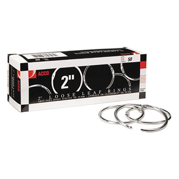 """Acco 72205 2"""" Diameter Metal Book Ring - 50/Box"""