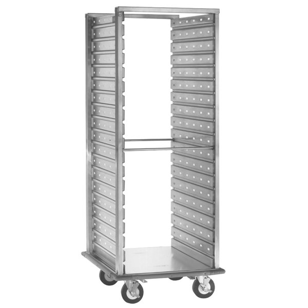 Cres Cor 208-1240-D Deluxe 38 Pan Aluminum Food Pan Roll-In Refrigerator Rack with Corrugated Perforated Sidewalls, Bumper, and Enclosed Base - Assembled Main Image 1