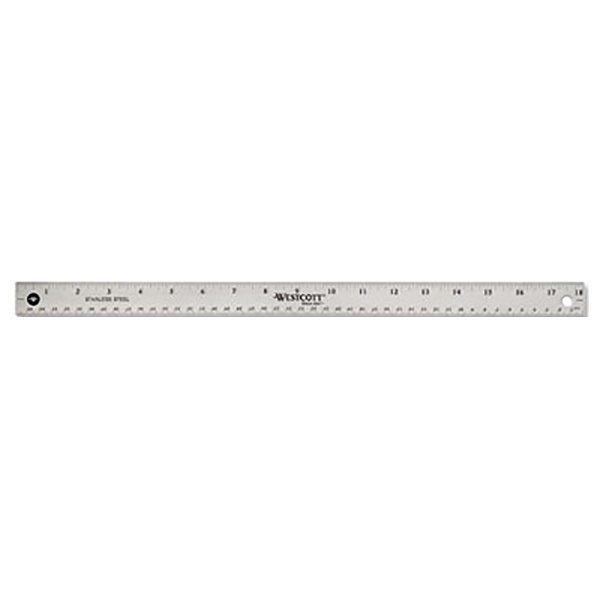 "Westcott 10417 18"" Stainless Steel Ruler with Cork Back and Hanging Hole - 1/16"" Standard Scale"