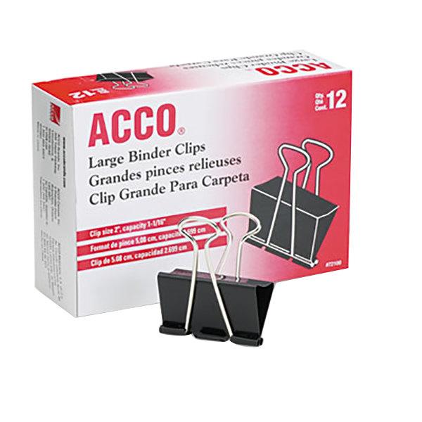 "Acco 72100 1 1/16"" Capacity Black Large Binder Clip - 12/Pack"