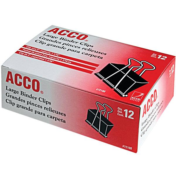 "Acco 72100 1 1/16"" Capacity Black Large Binder Clip - 12/Pack Main Image 1"