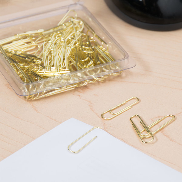 Acco A7072533 Gold Tone Smooth Finish #2 Paper Clip - 100/Box Main Image 3