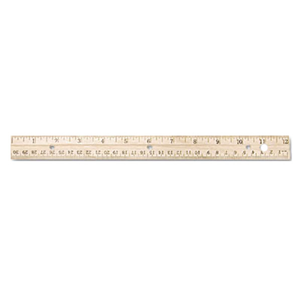 """Westcott 10702 12"""" 3 Hole Punched Wood Ruler with Metal Edge - 1/16"""" Standard Scale Main Image 1"""
