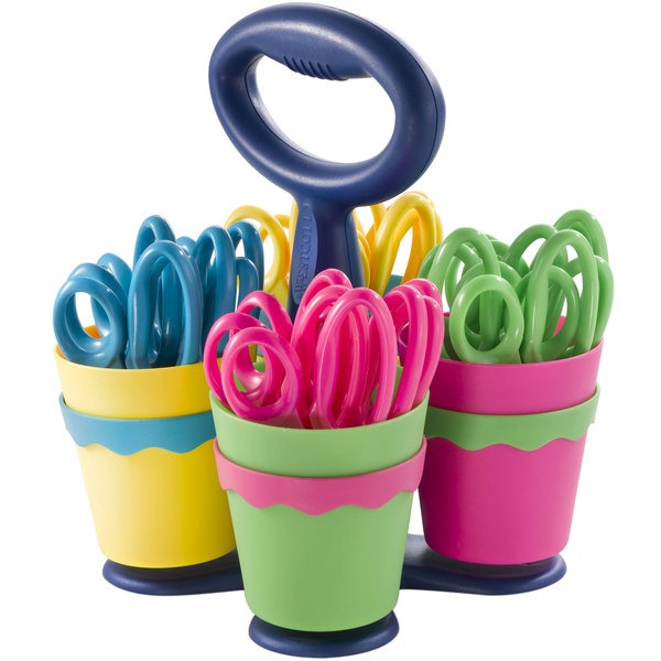 "Westcott 14755 School Scissors Caddy with 24 Pairs of 5"" Pointed Tip Kids Scissors with Antimicrobial Protection"